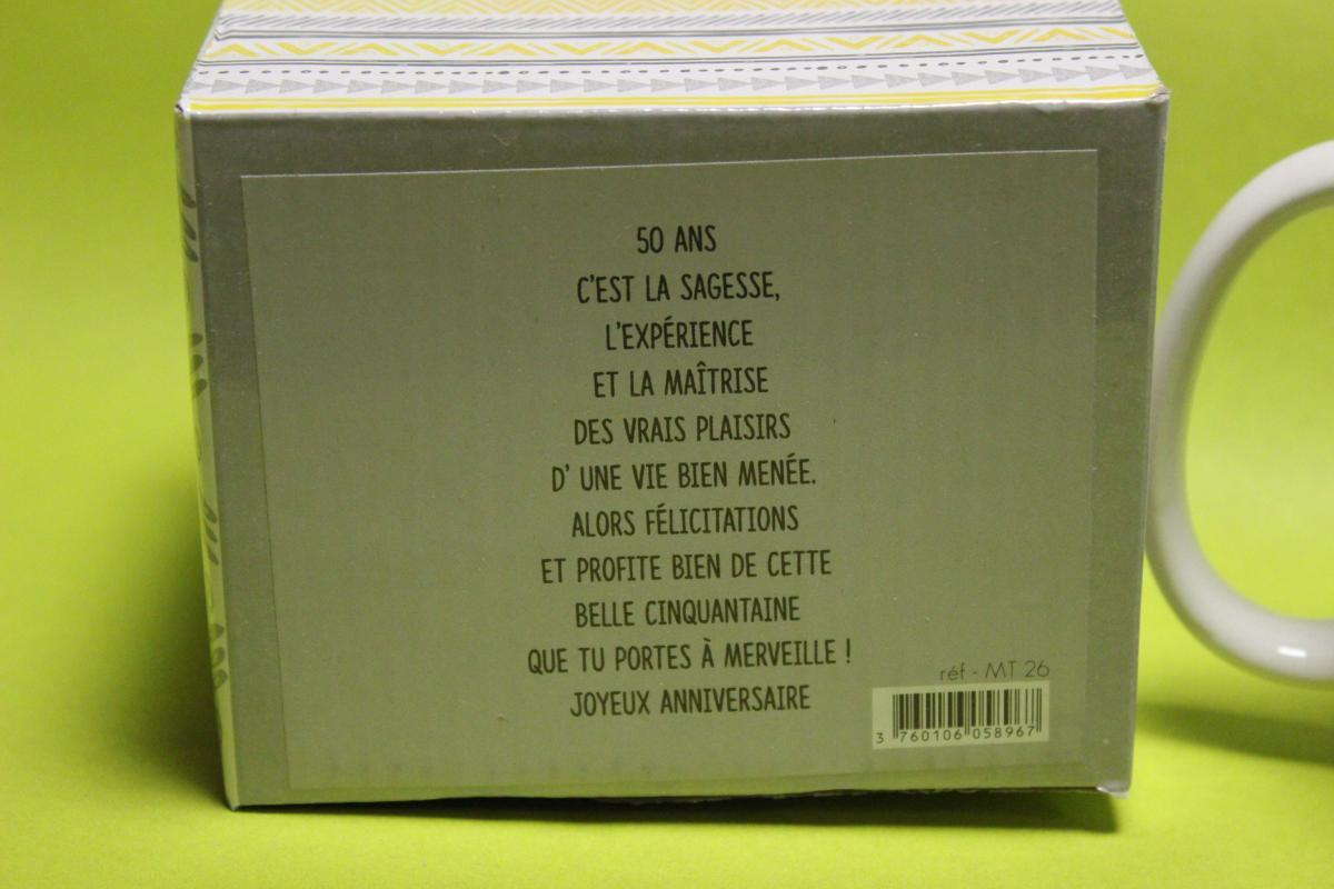 Mug anniversaire livraison de cadeau 50 ans moins de10 for Livraison fleurs pas cher 10 euros