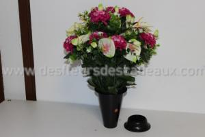 Anthuriums et spiders artificielles plastique coloris rose fuchsia en bouquet